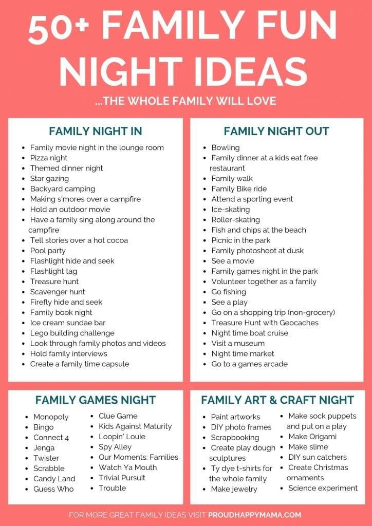 Family Fun Night Ideas   Free Printable 50+ Fun Family Night Ideas The Whole Family Will Love