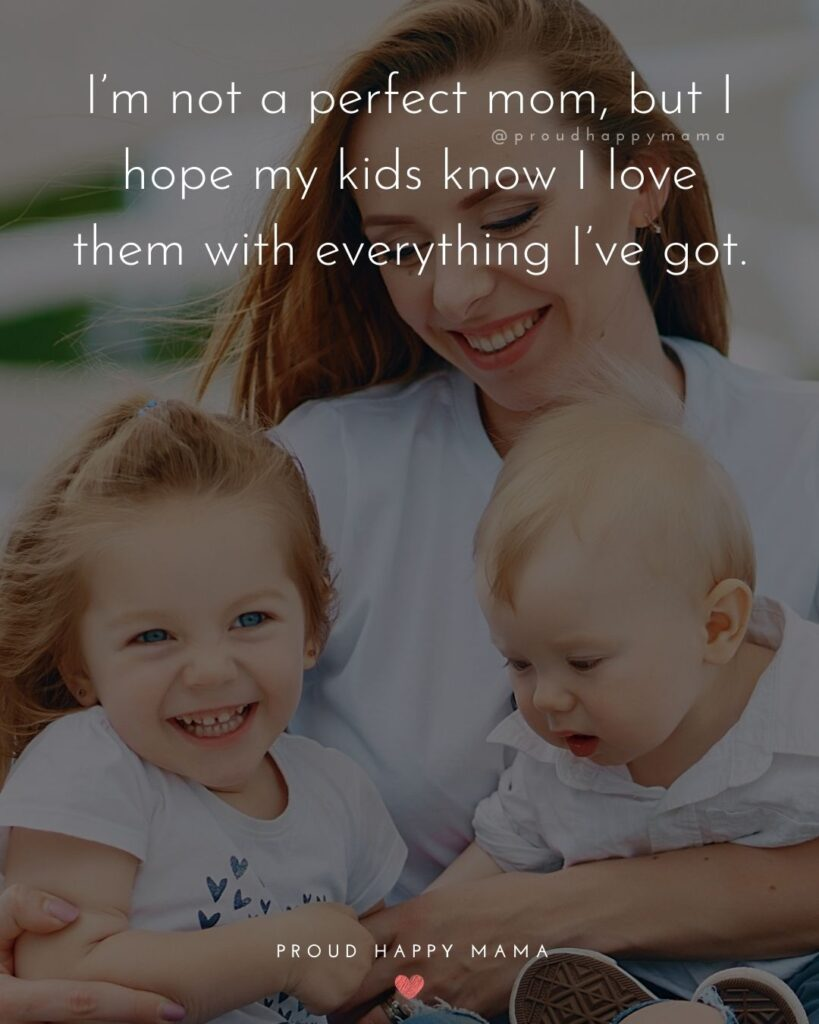 I Love My Kids Quotes - I'm not a perfect mom, but I hope my kids know I love them with everything I've got.'