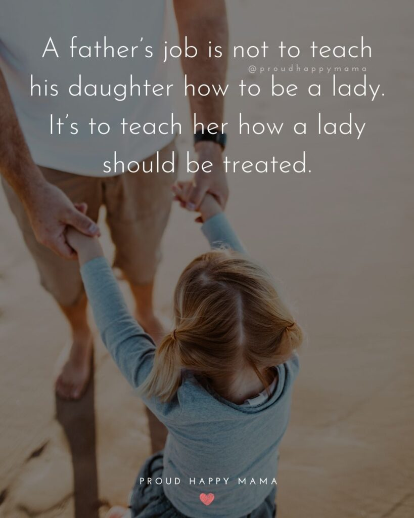 Father Daughter Quotes - A fathers job is not to teach his daughter how to be a lady. Its to teach her how a lady should be treated.
