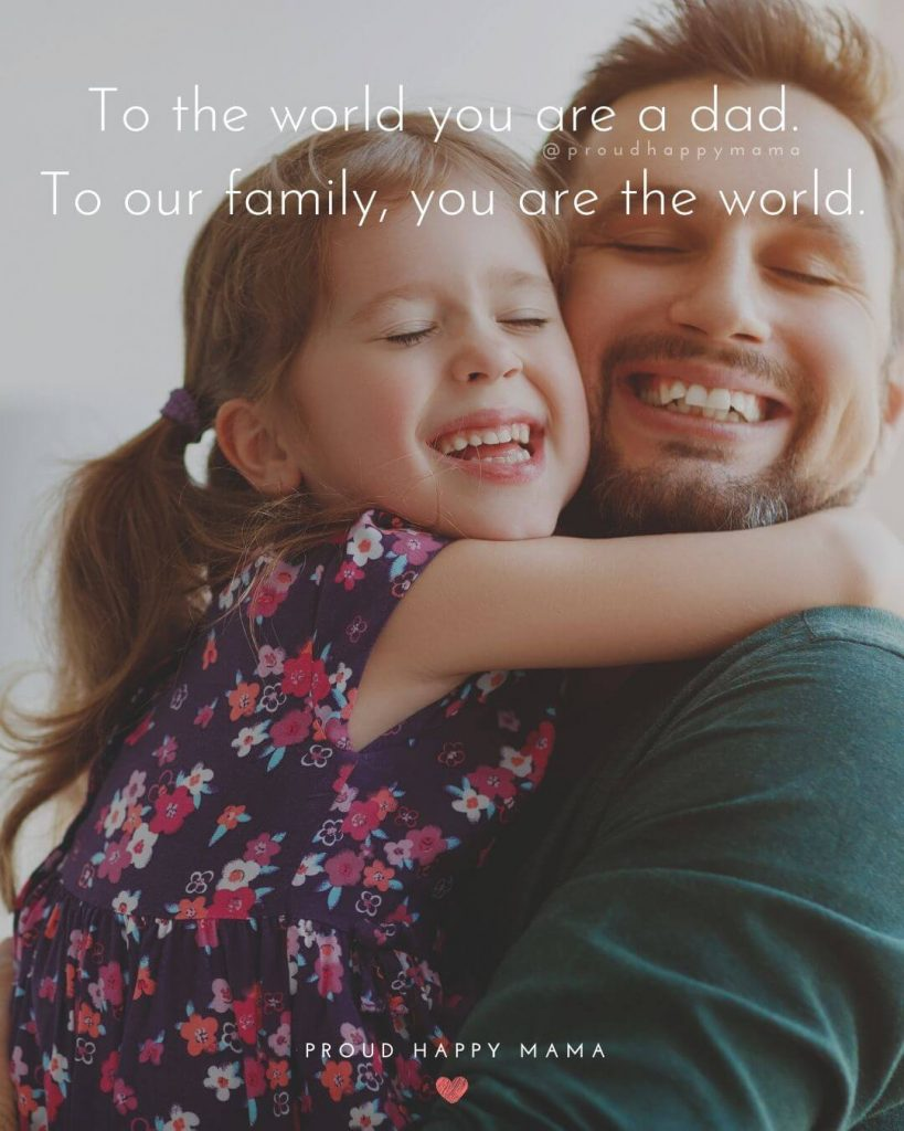 Happy Fathers Day Quotes | To the world you are a dad. To our family, you are the world.