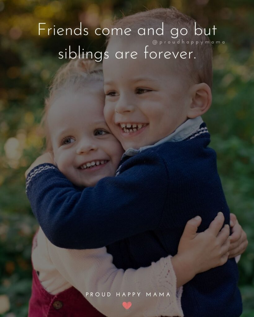 Sibling Quotes - Friends come and go but siblings are forever.'