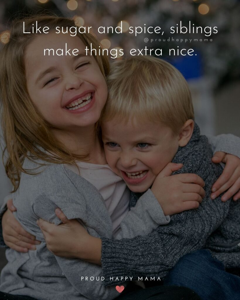 Sibling Quotes - Like sugar and spice, siblings make things extra nice.'