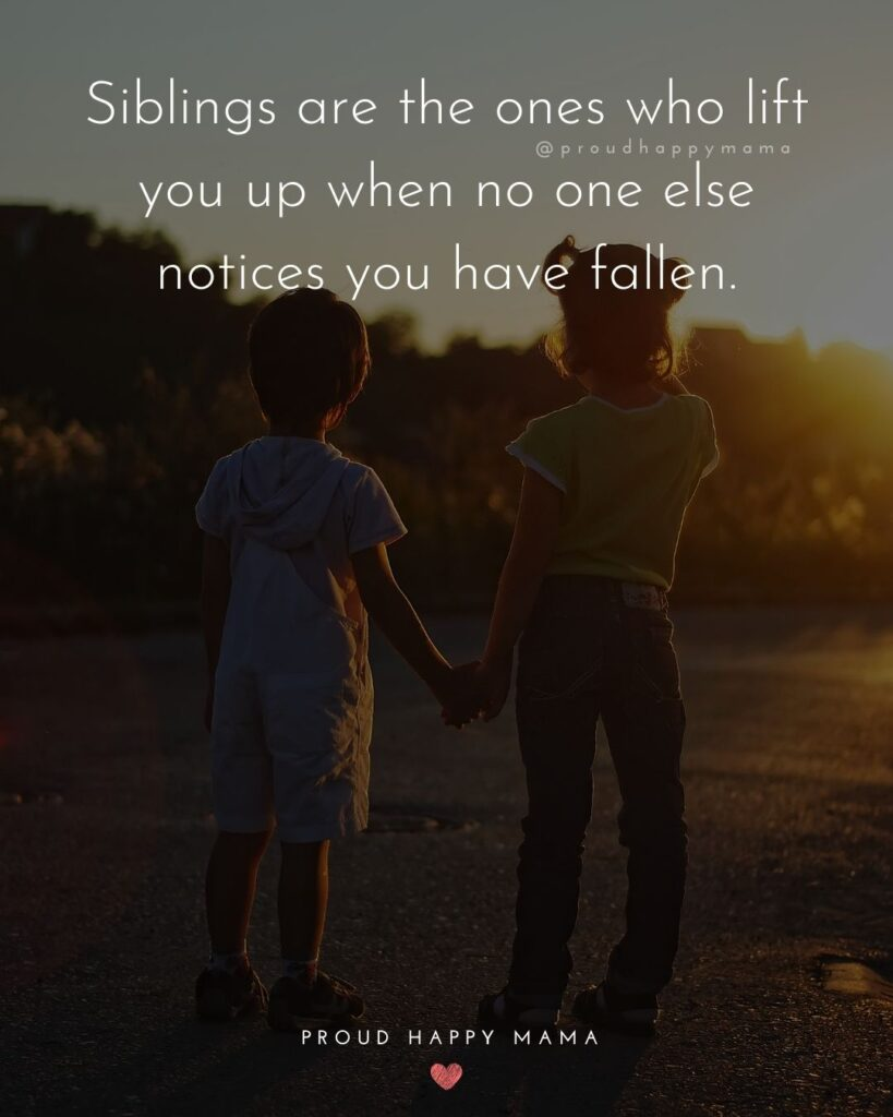 Sibling Quotes - Siblings are the ones who lift you up when no one else notices you have fallen.'
