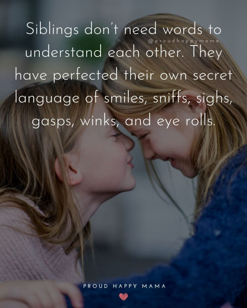 Sibling Quotes - Siblings don't need words to understand each other. They have perfected their own secret language of smiles,