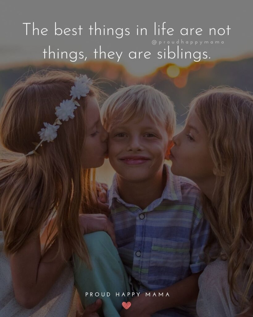Sibling Quotes - The best things in life are not things, they are siblings.'