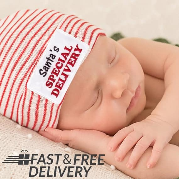 Melondipity Santa's Special Delivery Newborn Hospital Hat