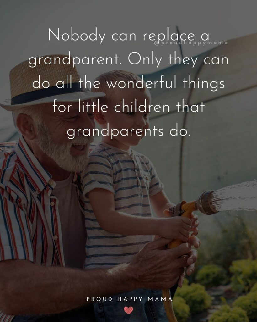 Grandparent Quote | Nobody can replace a grandparent. Only they can do all the wonderful things for little children that grandparents do.