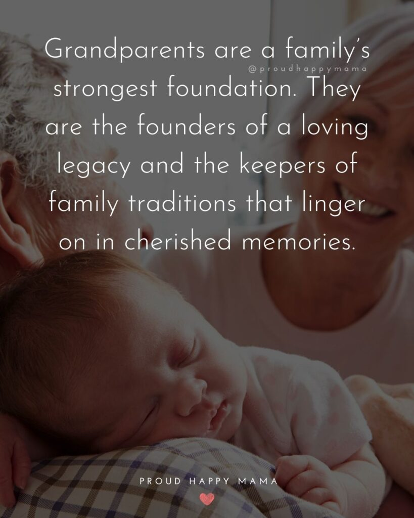 Grandparents Day Quotes | Grandparents are a family's strongest foundation. They are the founders of a loving legacy and the keepers of family traditions that linger on in cherished memories.