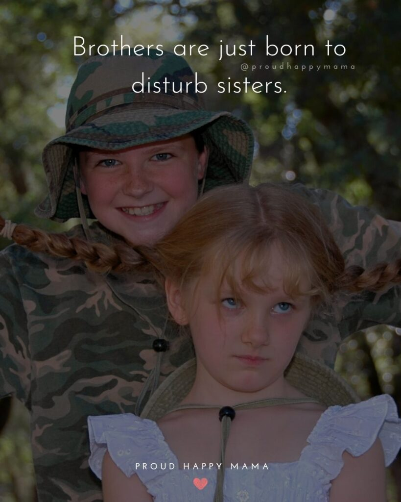 Sister Quotes - Brothers are just born to disturb sisters