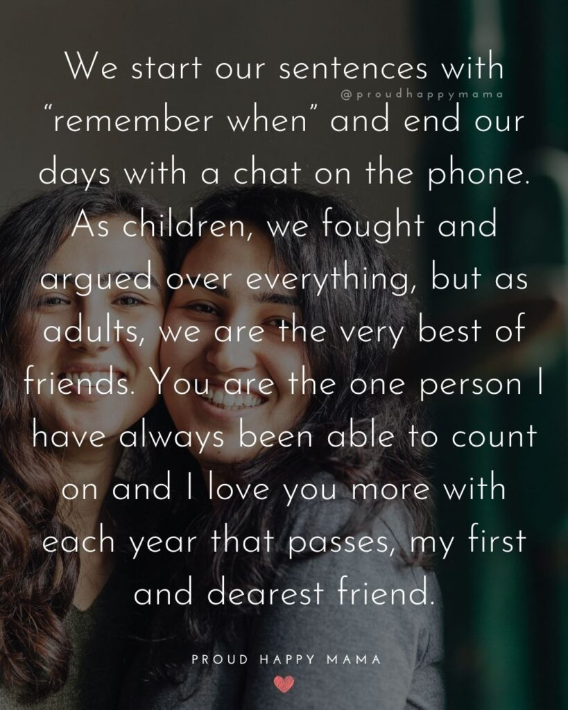 Sister Quotes - We start our sentences with remember when and end our days with a chat on the phone.