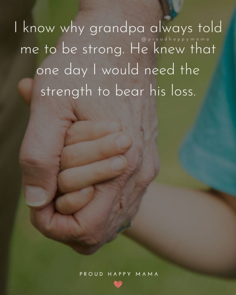 Grandpa Quotes - I know why grandpa always told me to be strong. He knew that one day I would need the strength to bear his loss.