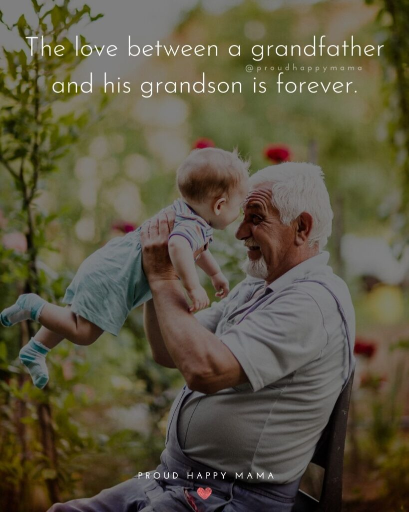 Grandpa Quotes - The love between a grandfather and his grandson is forever.