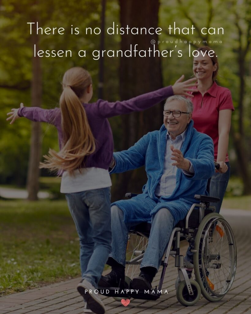 Grandpa Quotes - There is no distance that can lessen a grandfathers love.