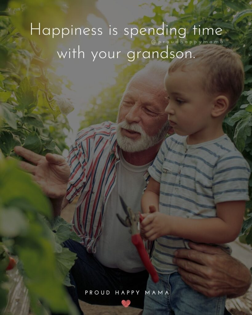 Grandson Quotes - Happiness is spending time with your grandson.