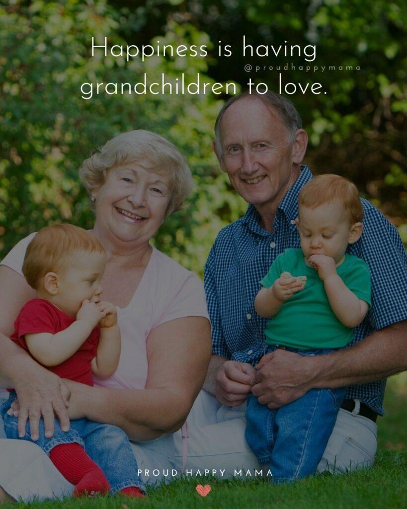 Quotes for Grandchildren - Happiness is having grandchildren to love.