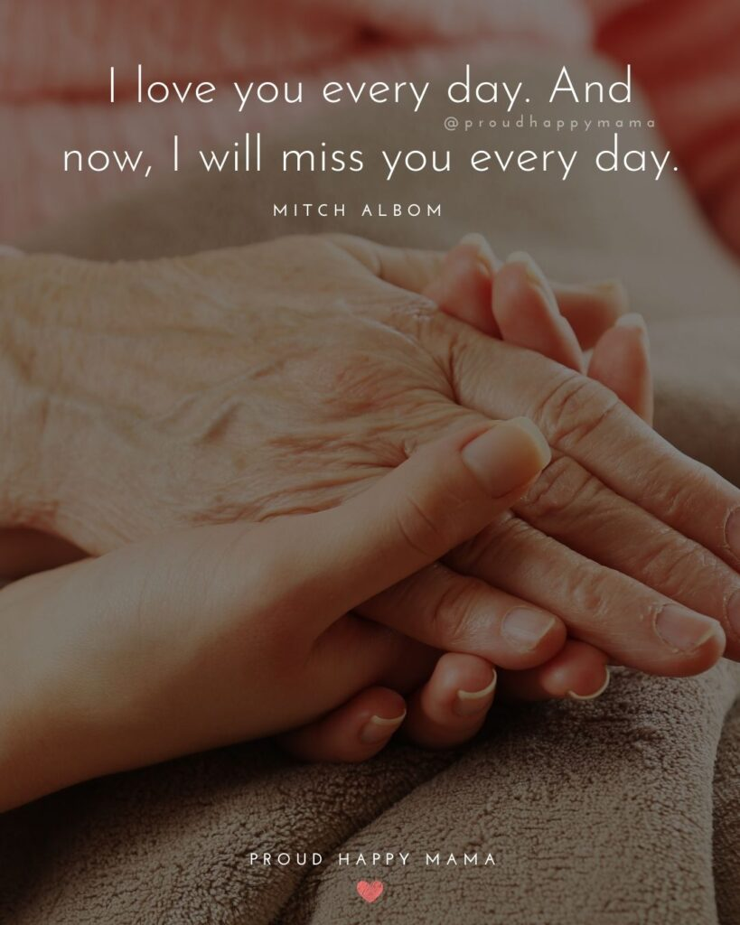 I Love You Mom Quotes - I love you every day. And now, I will miss you every day.