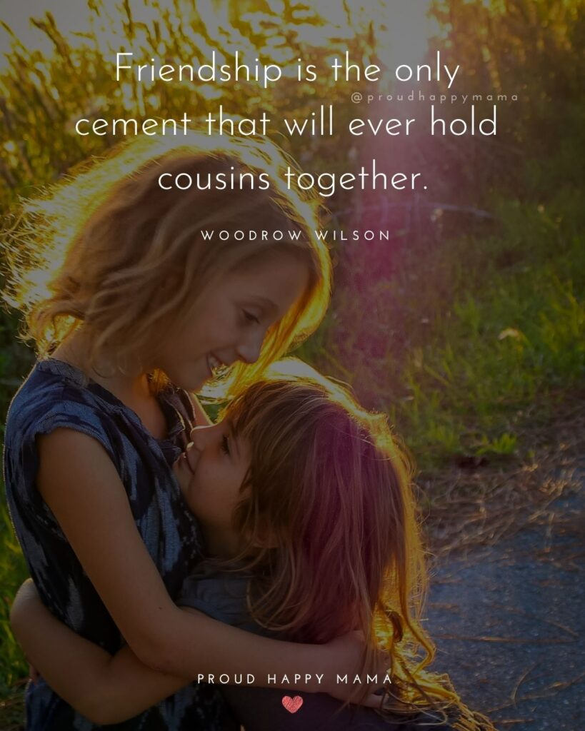 Cousin Quotes - Friendship is the only cement that will ever hold cousins together.' - Woodrow Wilson