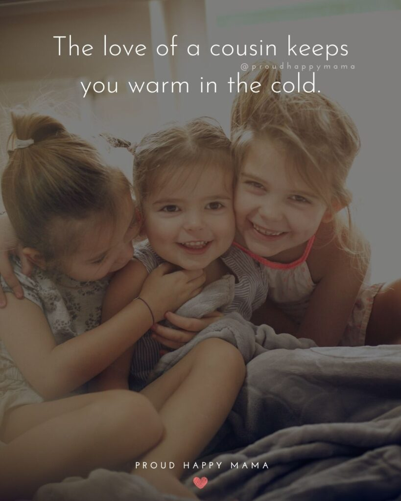 Cousin Quotes - The love of a cousin keeps you warm in the cold.