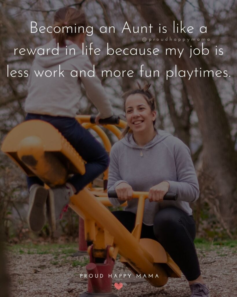 Quotes About Becoming An Aunt - Becoming an Aunt is like a reward in life because my job is less work and more fun playtimes.