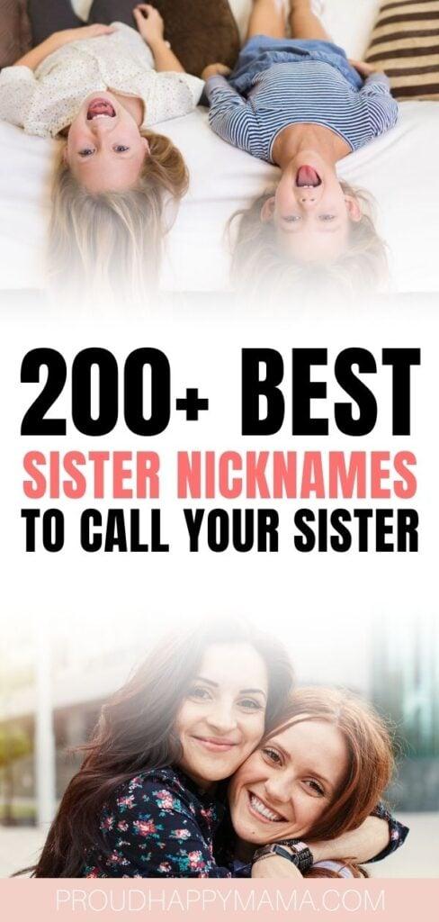 Cute Nicknames For Sisters - Post Pin