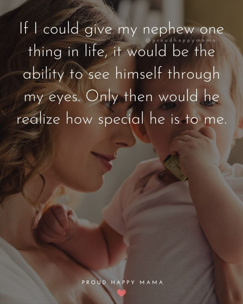 Nephew Quotes - If I could give my nephew one thing in life, it would be the ability to see himself through my eyes. Only then would he realize how special he is to me.