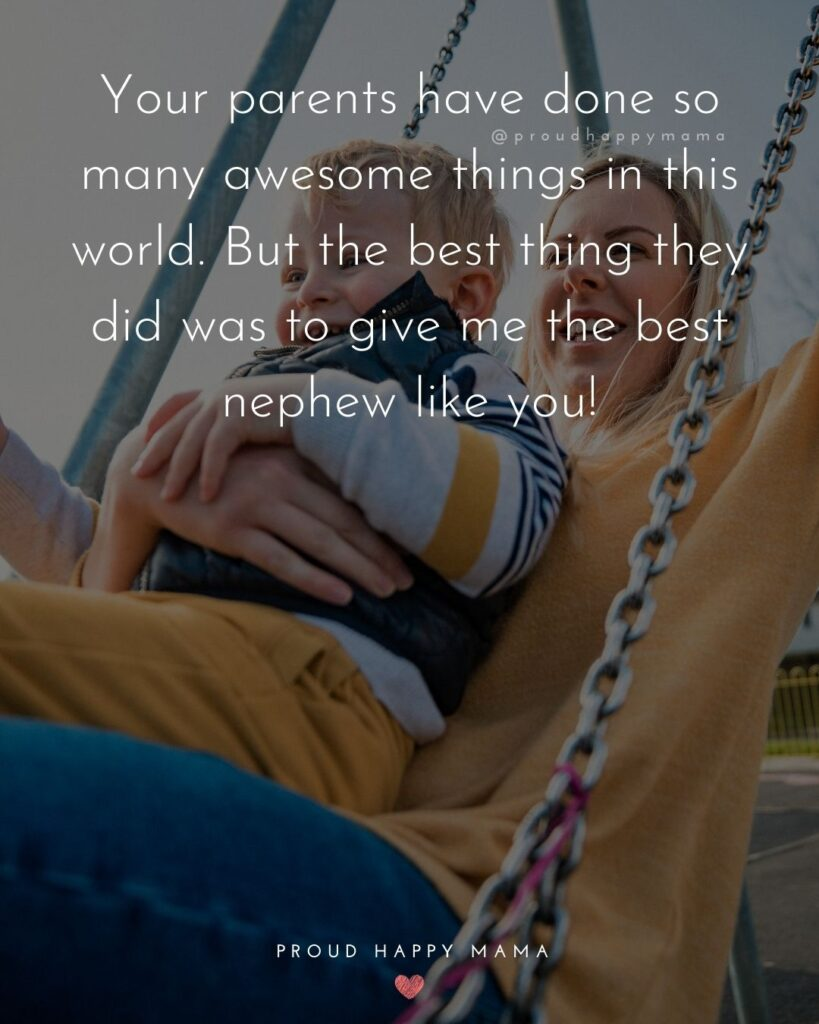 Nephew Quotes - Your parents have done so many awesome things in this world. But the best thing they did was to give me