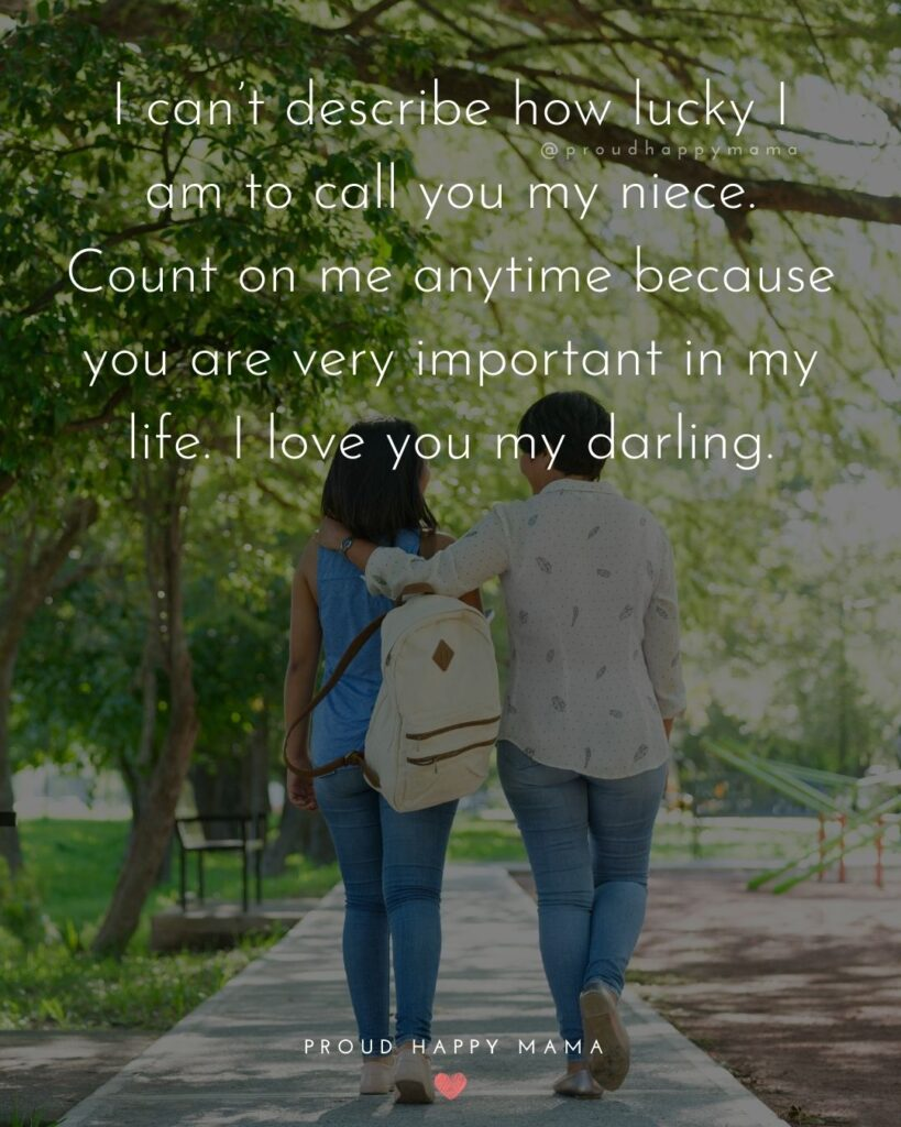 Niece Quotes - I cant describe how lucky I am to call you my niece. Count on me anytime because you are very important in my life. I love you my darling.