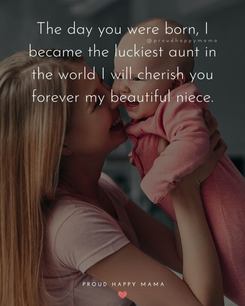 Niece Quotes - The day you were born, I became the the luckiest aunt in the world I will cherish you forever my beautiful niece.