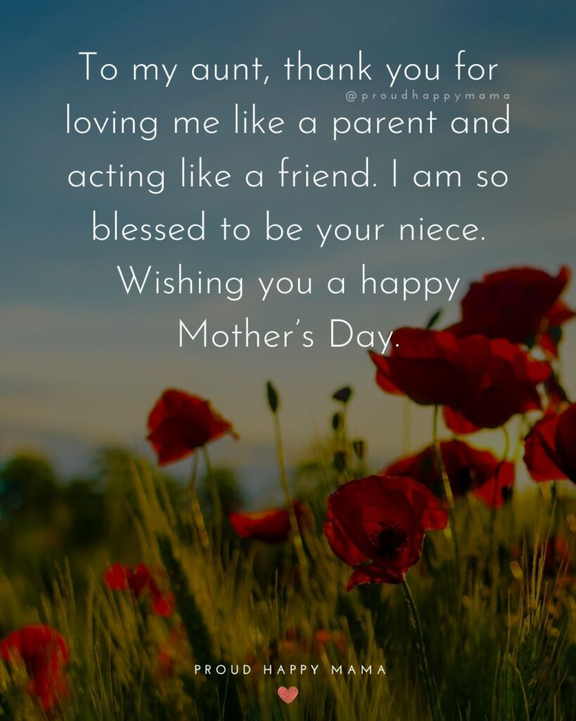 Happy Mothers Day Aunt - To my aunt, thank you for loving me like a parent and acting like a friend. I am so blessed to be your niece. Wishing you a happy Mothers Day.