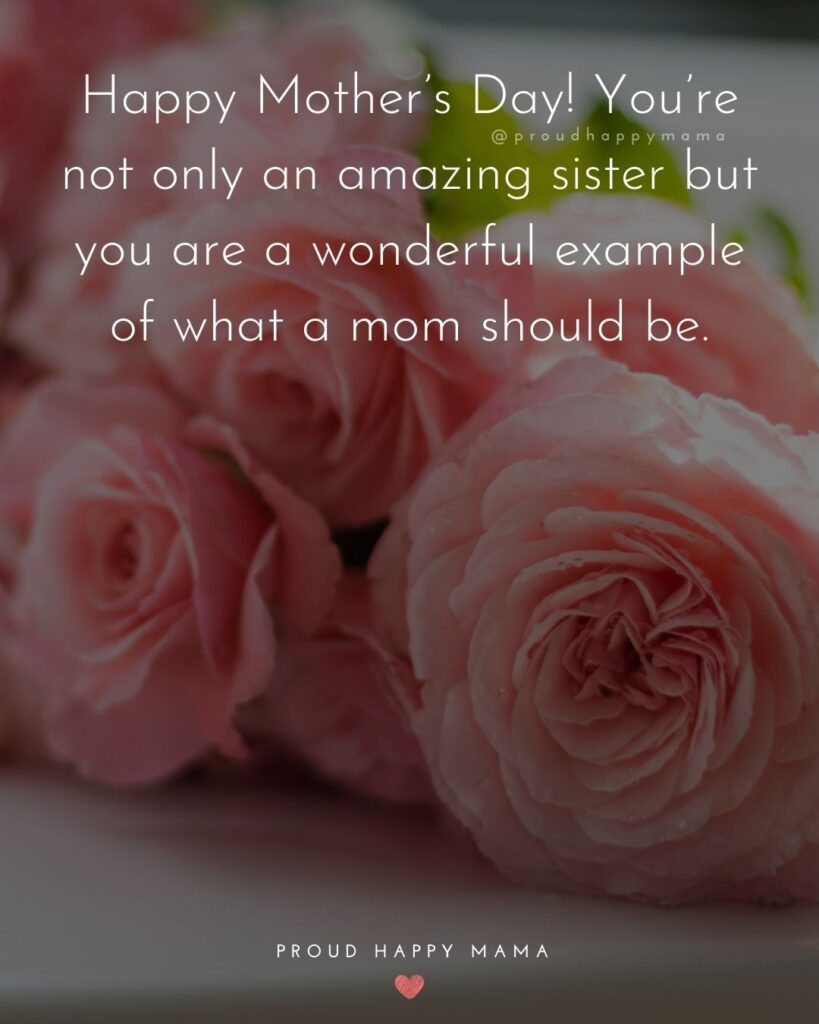 Happy Mothers Day Sister Quotes - Happy Mother's Day! You're not only an amazing sister, but you are a wonderful example of what a mom should be.'