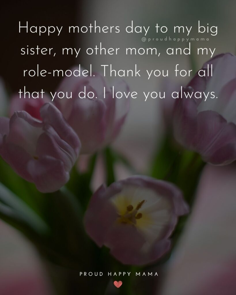 Happy Mothers Day Sister Quotes - Happy mothers day to my big sister, my other mom, and my role-model. Thank you for all that you do. I love you always.'