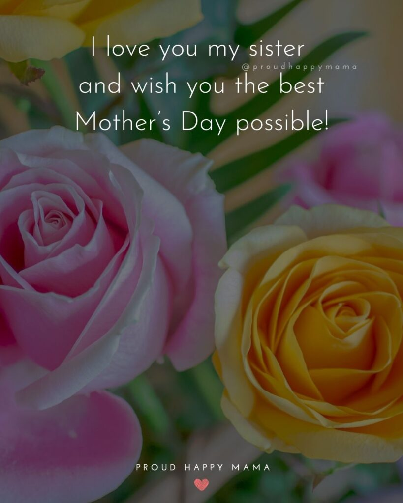 Happy Mothers Day Sister Quotes - I love you my sister and wish you the best Mother's Day possible!'