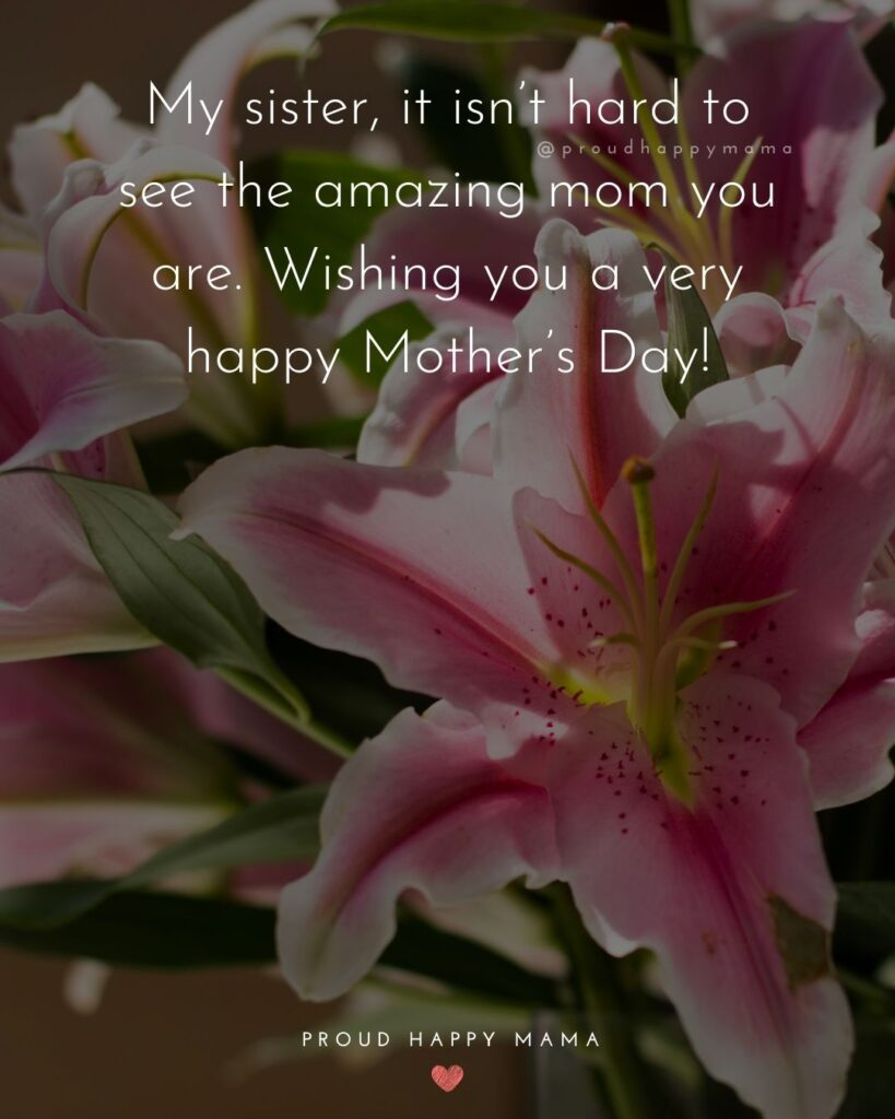 Happy Mothers Day Sister Quotes - My sister, it isn't hard to see the amazing mom you are. Wishing you a very happy Mother's Day!'