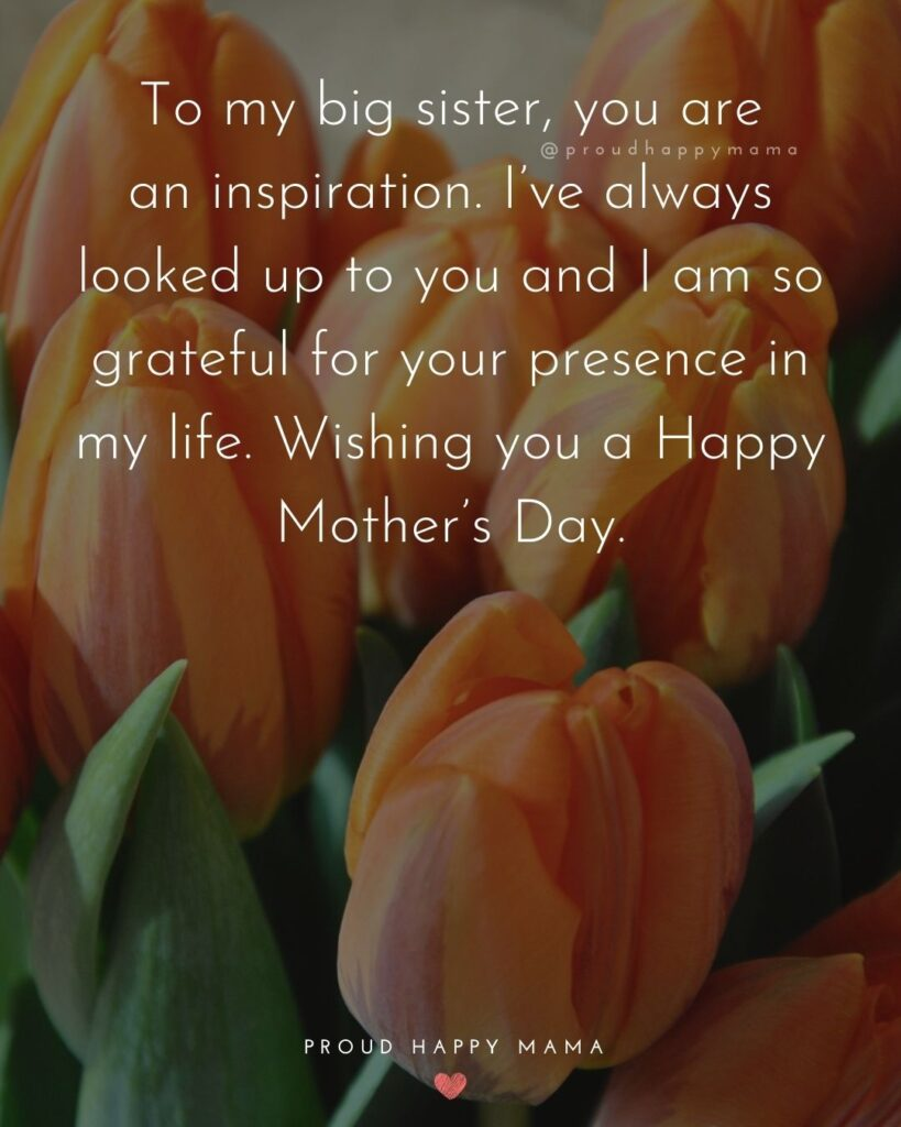 Happy Mothers Day Sister Quotes - To my big sister, you are an inspiration. I've always looked up to you and I am so grateful for your