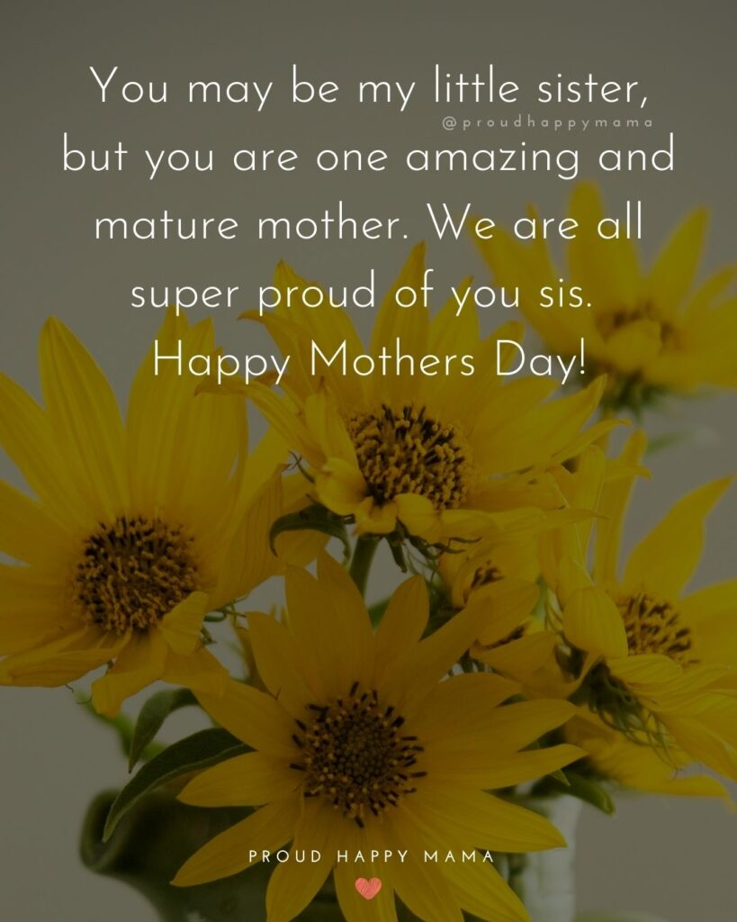 Happy Mothers Day Sister Quotes - You may be my little sister, but you are one amazing and mature mother. We are all super proud of