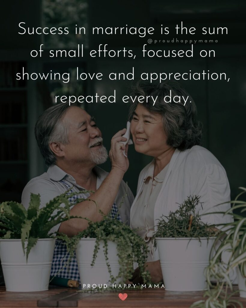 Marriage Quotes - Success in marriage is the sum of small efforts, focused on showing love and