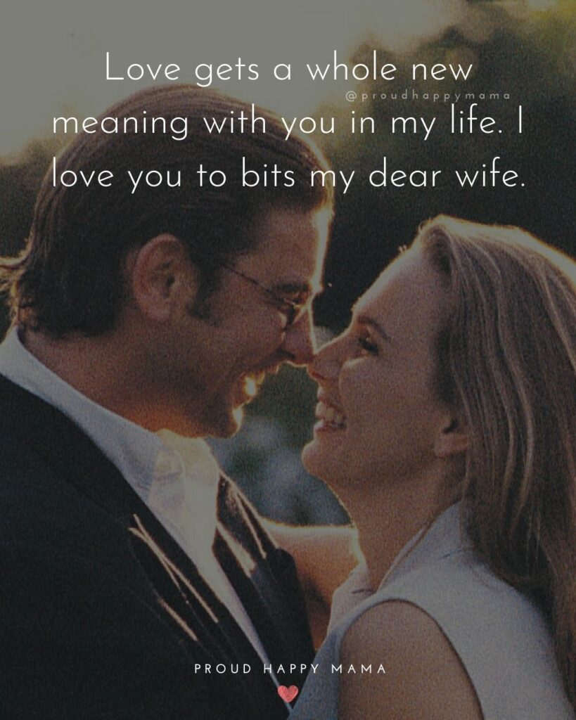 Wife Quotes - Love gets a whole new meaning with you in my life. I love you to bits my dear wife.