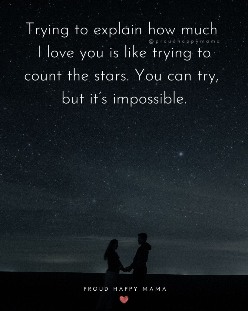 Wife Quotes - Trying to explain how much I love you is like trying to count the stars. You can try, but it's impossible.
