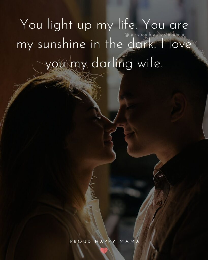 Wife Quotes - You light up my life. You are my sunshine in the dark. I love you my darling wife.