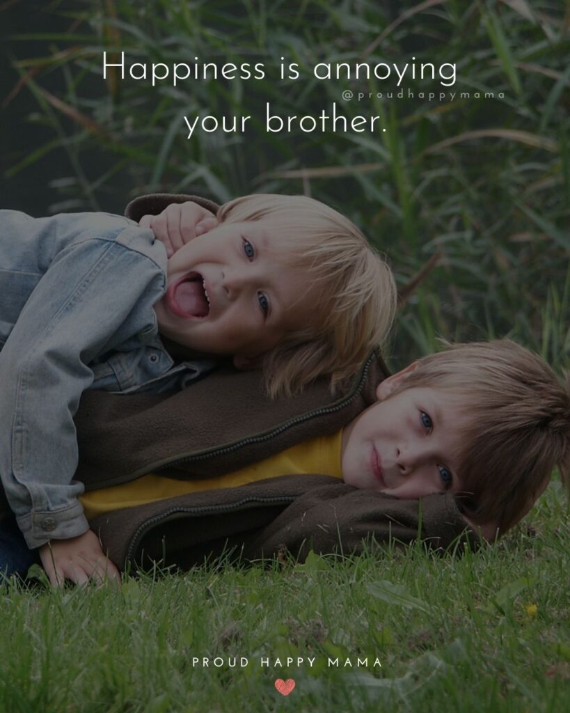 Brother Quotes - Happiness is annoying your brother.'