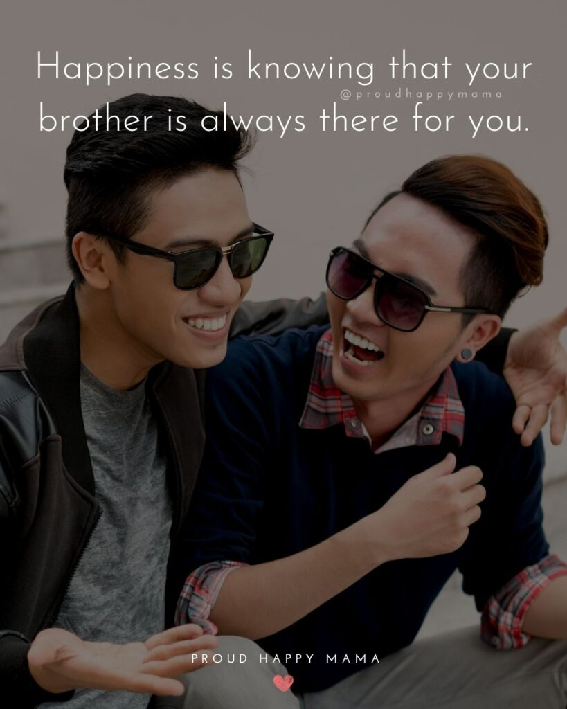 Brother Quotes - Happiness is knowing that your brother is always there for you.'