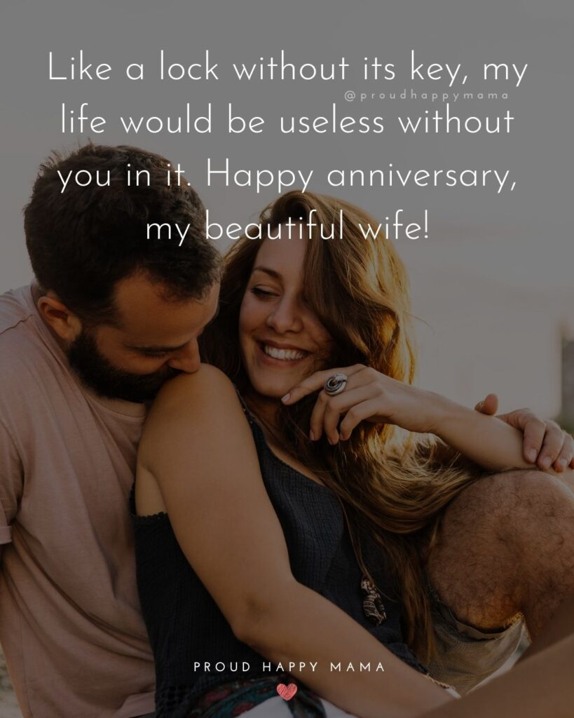 Wedding Anniversary Wishes For Wife - Like a lock without its key, my life would be useless without you in it. Happy anniversary, my