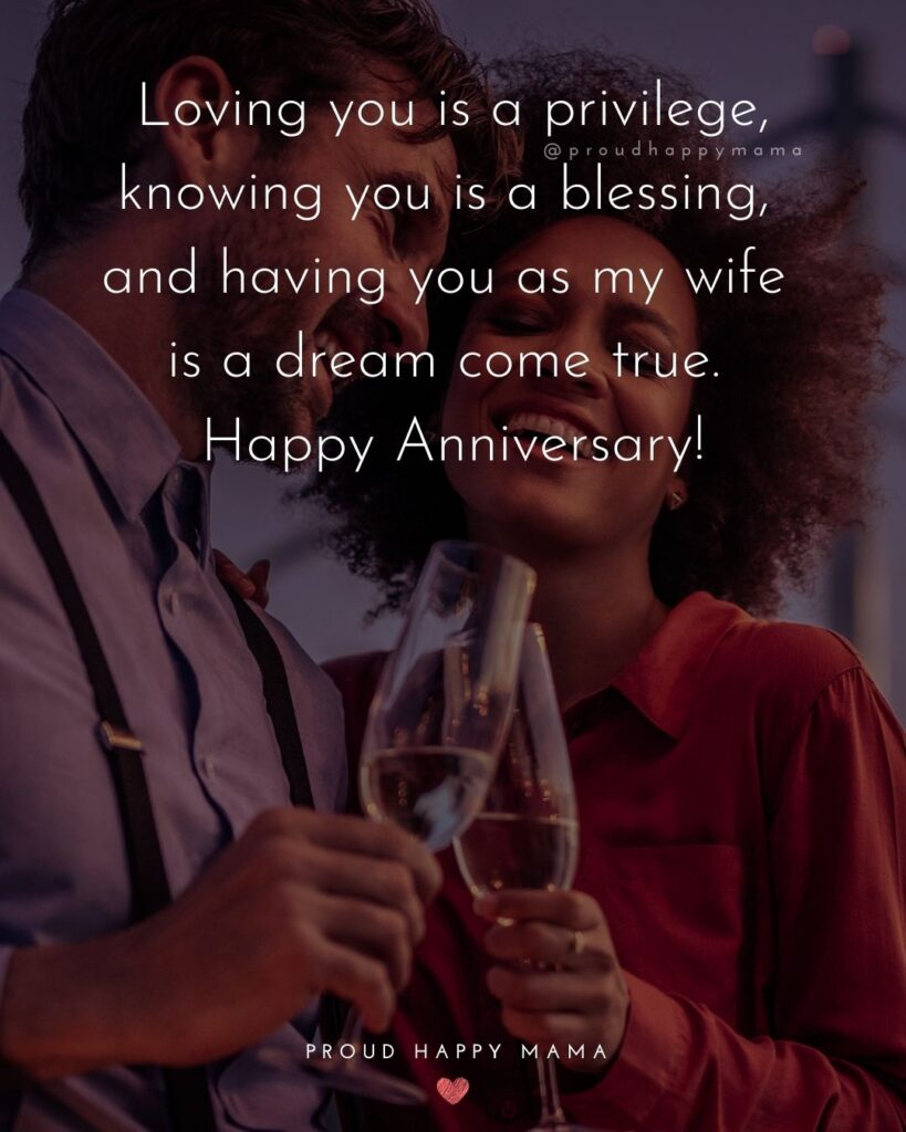 Wedding Anniversary Wishes For Wife - Loving you is a privilege, knowing you is a blessing, and having you as my wife is a dream