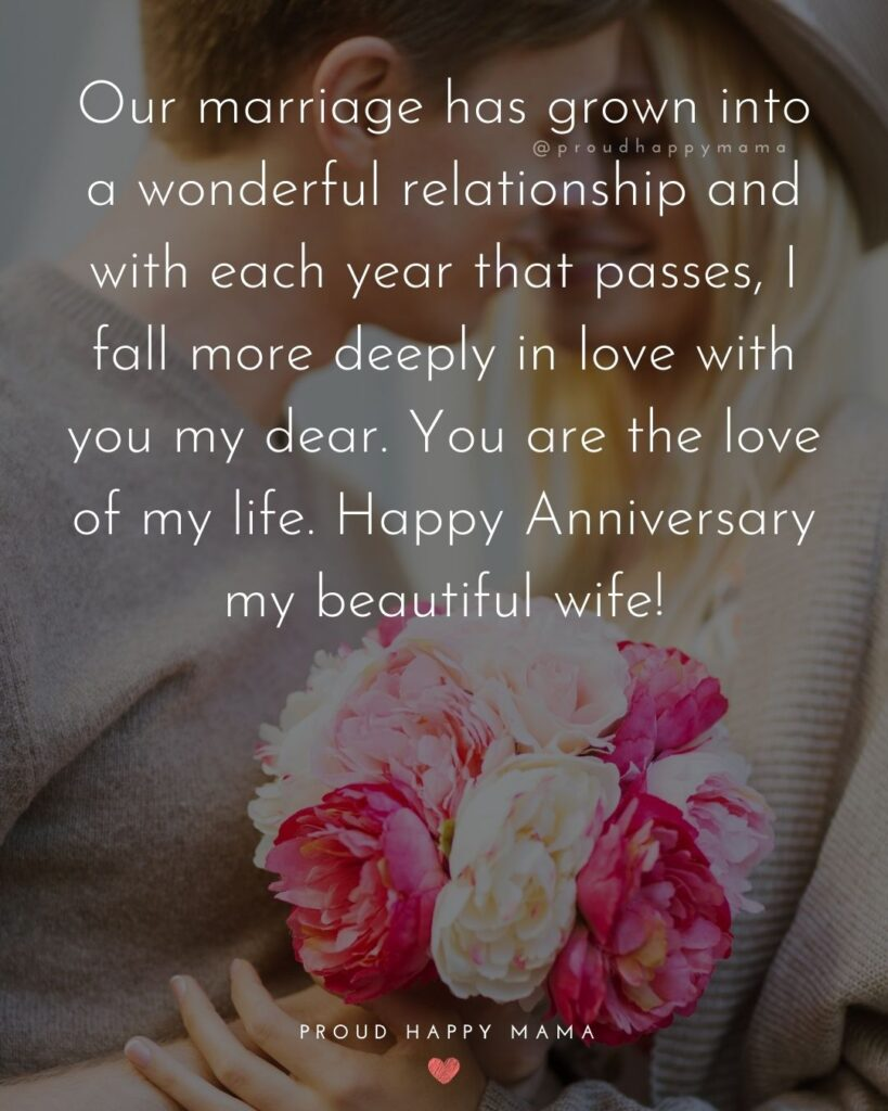 Wedding Anniversary Wishes For Wife - Our marriage has grown into a wonderful relationship and with each year that passes, I fall