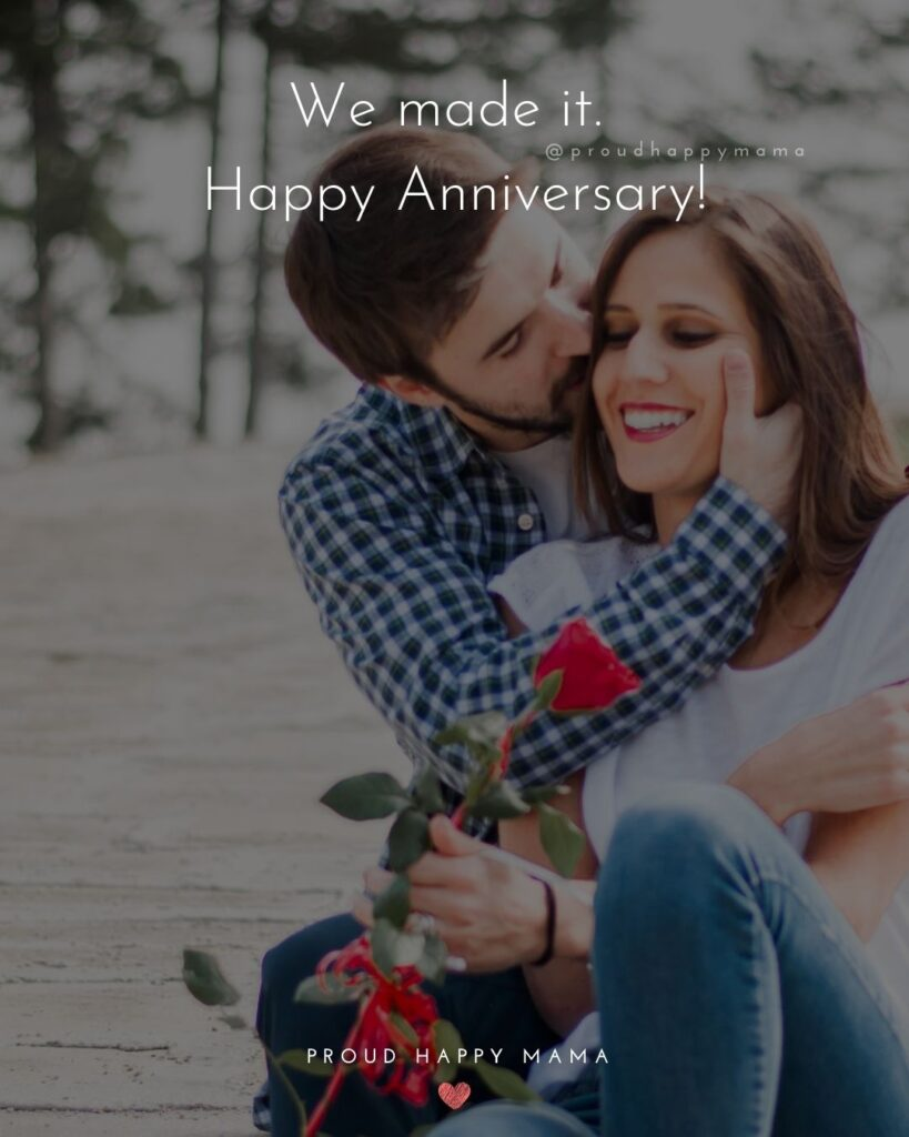 Wedding Anniversary Wishes For Wife - We made it. Happy Anniversary!'