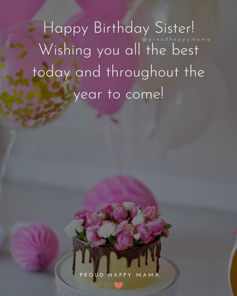 Happy Birthday Wishes For Sister - Happy Birthday Sister! Wishing you all the best today and throughout the year to come!'