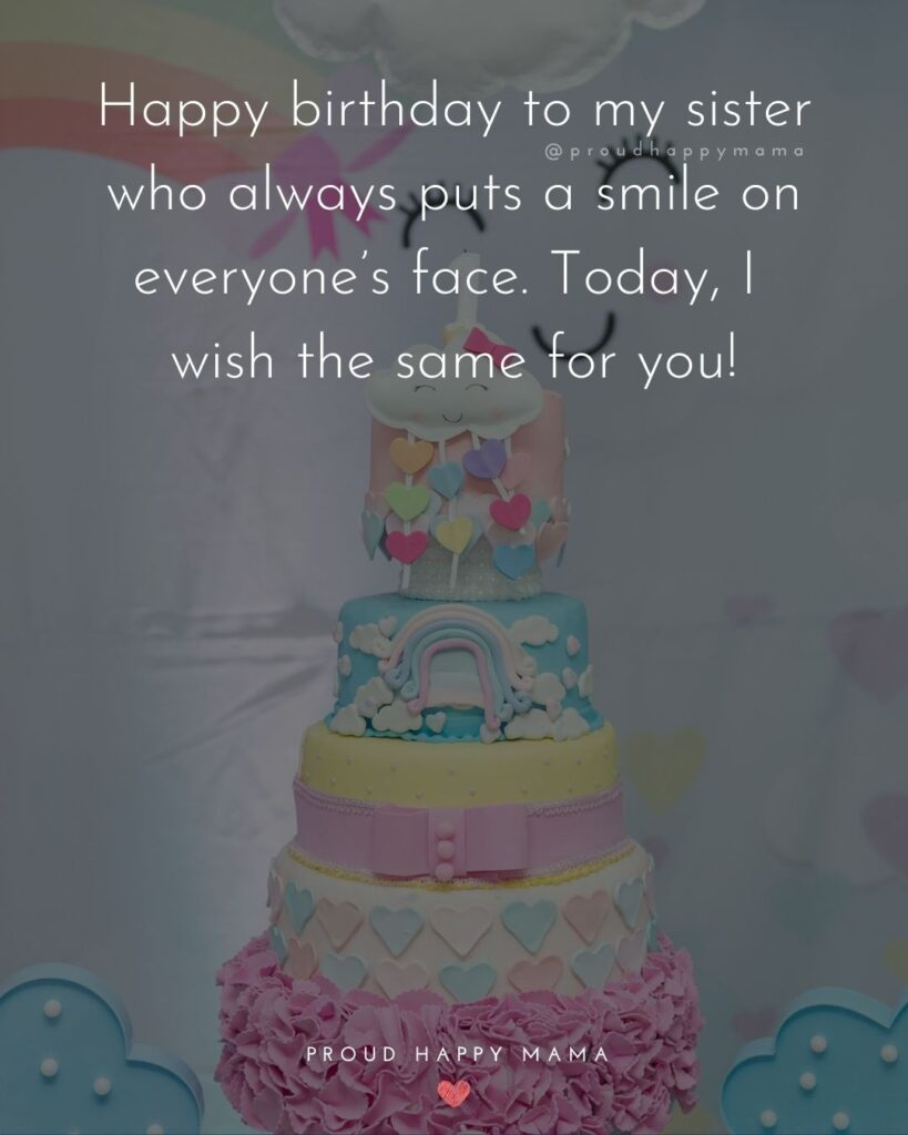 Happy Birthday Wishes For Sister - Happy birthday sister! May your day be as special as you are to me.'