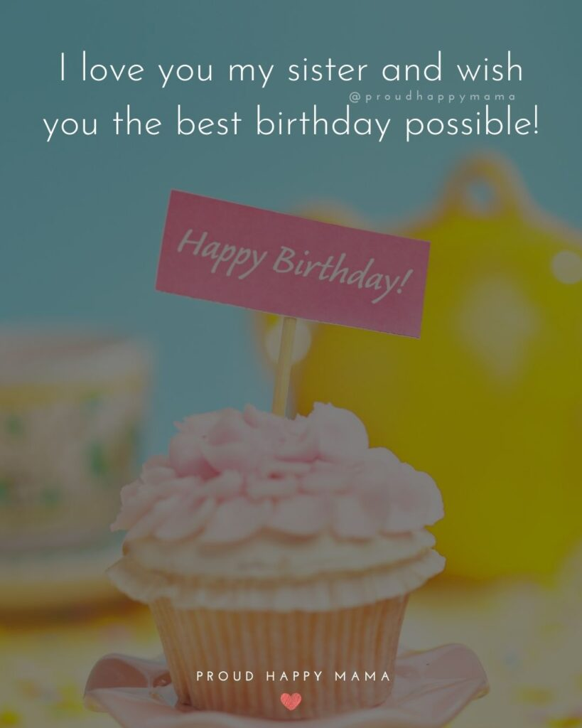 Happy Birthday Wishes For Sister - I love you my sister and wish you the best birthday possible!'