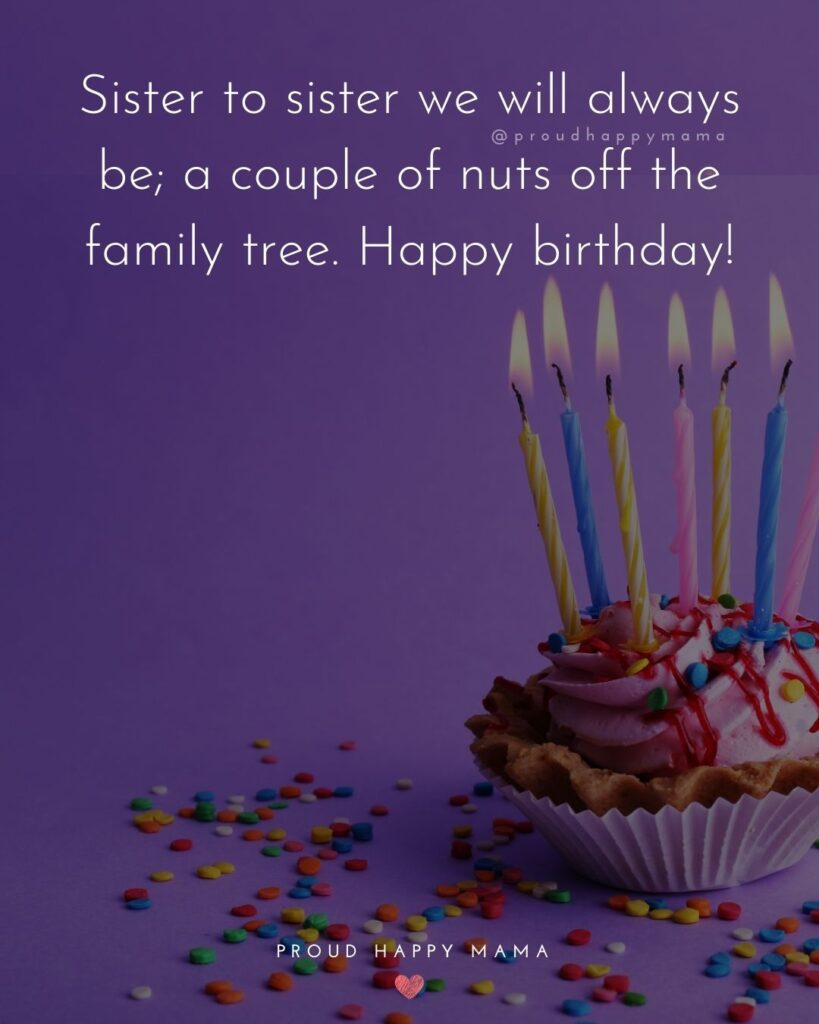 Happy Birthday Wishes For Sister - Sister to sister we will always be; a couple of nuts off the family tree. Happy birthday!'