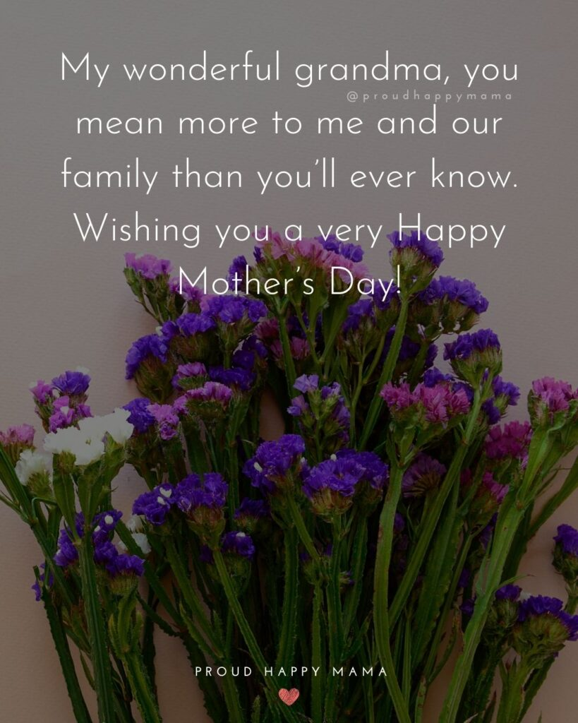 Happy Mothers Day Quotes To Grandma - My wonderful grandma, you mean more to me and our family than you'll ever